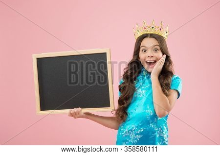 Surprise Prom Night. Prom Queen Hold School Blackboard. Small Child Wear Prom Crown. Coronation Part