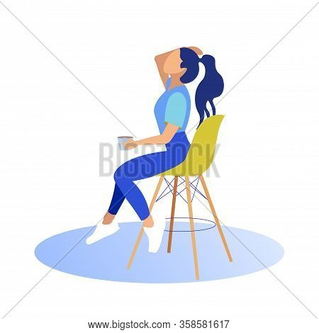 Girl Sits On High Chair With Cup In Hand. Straightens Hair. Coworking Center. Vector Illustration. W