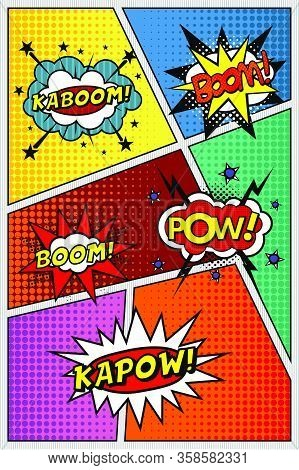 Comic Book Page. Template With Sound Effects, Kapow, Pow, Kaboom, Boom!