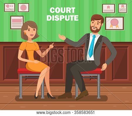 Lawyers Court Dispute Flat Vector Banner Template. Litigation Procedure Typography. Cartoon Barriste