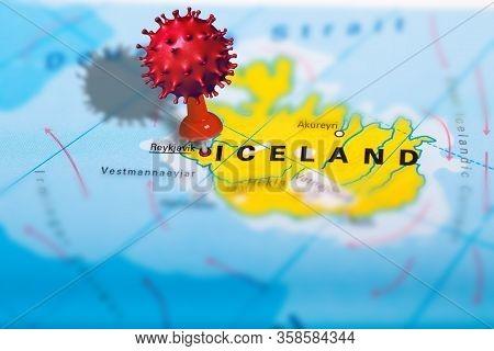 Covid-19 Outbreak Or New Coronavirus, 2019-ncov, Virus Pin In Reykjavik On Map Of Iceland. Covid 19-