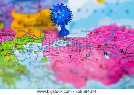 Covid-19 Outbreak Or New Coronavirus, 2019-ncov, Virus Pin In Istanbul On Map Of Turkey. Covid 19-nc