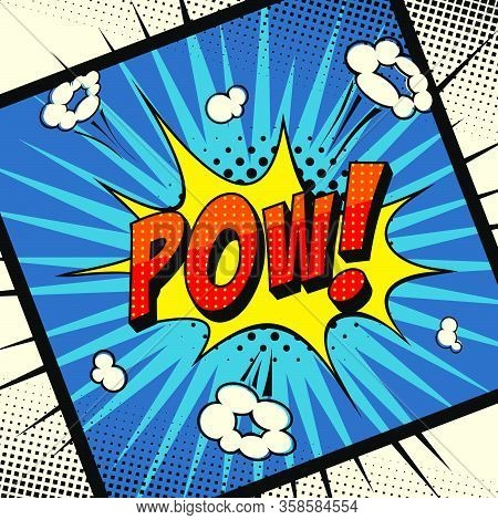 Comic book POW! Explosion and rays. Vector art.
