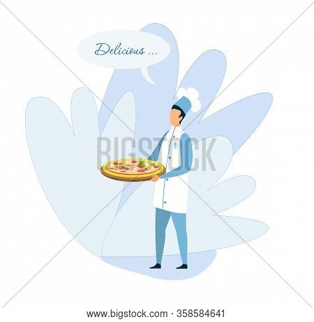 Man Chef Carrying Pizza On Tray Advertising Delicious Taste. Bistro Pizzeria Promotion. Traditional