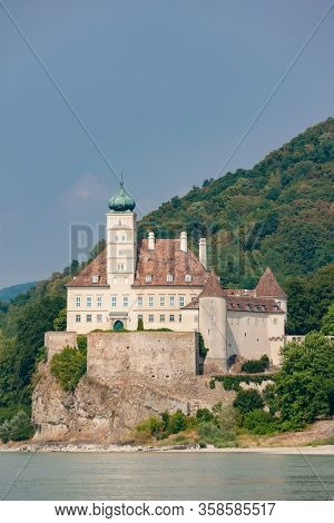 Schonbuhel castle, built on a rock on Danube river is a main historical landmark in Wachau valley, Austria