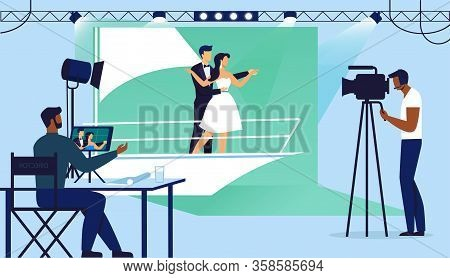 Melodramatic Scene Filming Vector Illustration. Romantic Movie Making Team Cartoon Characters. Young