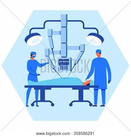 Nurse And Surgeon Operating Patient With Robot Help. Robotic Surgery System. Automatically Controlle