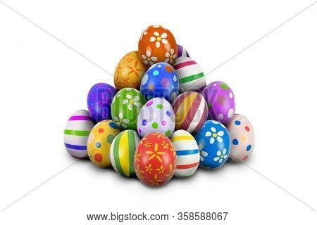 Pile or stack of Easter Eggs ready for the Hunt. Colorful, ornate and decorated Easter Eggs piled or stacked in pyramid shape isolated white background, cut out or cutout