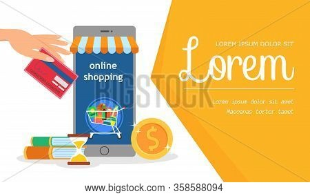 Online Shop, E Commerce Service Banner Template. Internet Trading, Shopping Business. Cart On Smartp