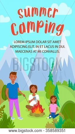 Summer Camp Flat Flyer With Lettering, Copyspace. Tanned Tourists. Outdoor Activities On Nature Vect