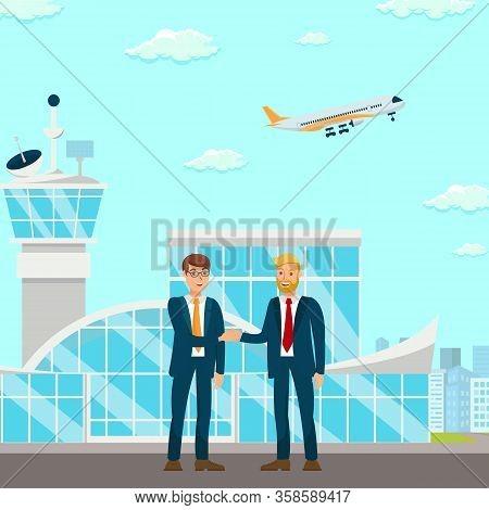 Successful Partnership Negotiation Illustration. Corporate Relationship Establishment. Men In Suits