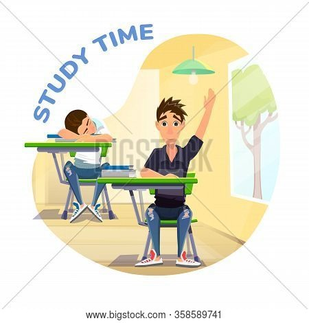 Study Time Poster With Active And Passive Students. Smart Pupil With Raised Hand Ready Give Answer O