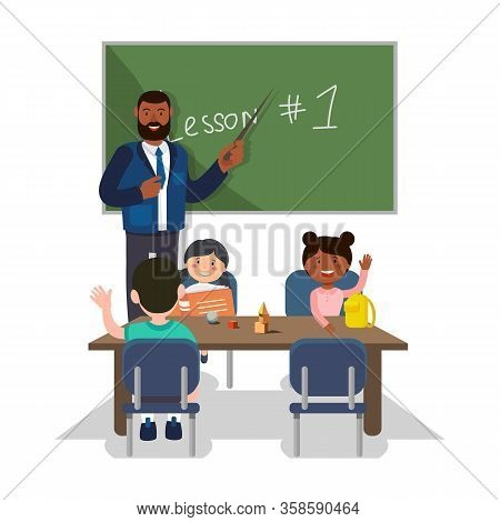 Teacher Stand At Blackboard. First School Lesson. Teacher And Students On White Background. Kids At