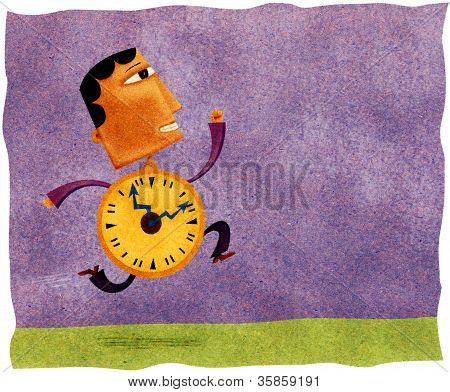 A Running Man With A Clock For A Body