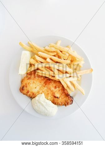 British Traditional fish and chips and tartar sauce
