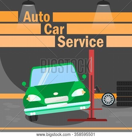 Automobile Car Service Flat Vector Banner Template. Tire Replacement Typography. Broken Auto, Vehicl