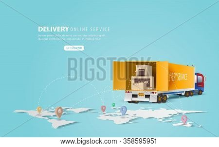 Online Delivery Service Concept, Online Order Tracking,delivery Home And Office.city Logistics And W