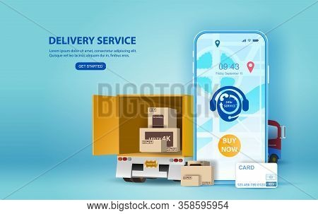 Online Delivery Service Concept, Online Order Tracking,smartphone Delivery Home And Office.city Logi