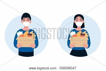 People Volunteer In A Protective Medical Mask Hold Big Box Of Foods. 2019-ncov. Ncov, Covid 2019, Co