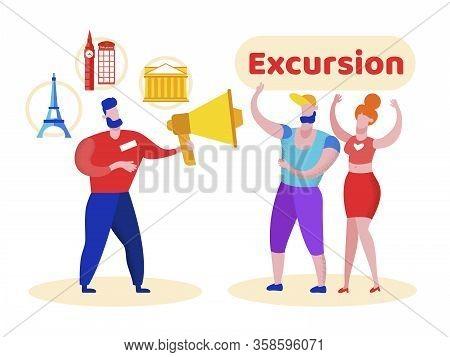 Advertising Poster Is Written Excursion Cartoon. Flyer An Interesting Modern Excursion Program. Bann
