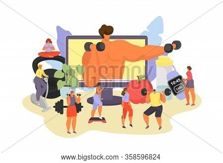Online Fitness Vector Illustration. Cartoon Active Woman Man Characters In Sport Activity, Modern Ap