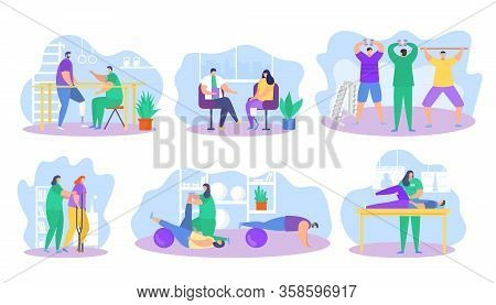 Physiotherapy Rehabilitation Assistance Vector Illustration. Cartoon Flat Patient Character On Physi