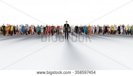 Businessman leader leading a large group of people. Low poly style. Society and business world. Conceptual 3D illustration
