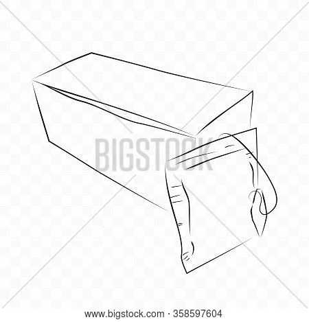 Vector Hand Draw Sketch, Mockup Blank Instant Tea Bag And Box, At Transparent Effect Background.