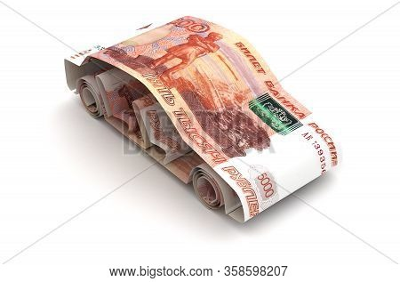 Car Finance With Russian Ruble (isolated On White Background) 3d Rendering