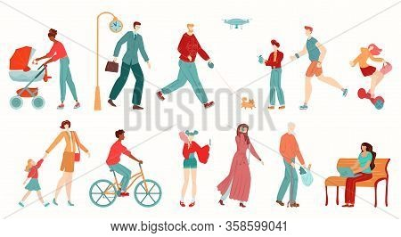 People In City, Pedestrians Isolated On White Background Cartoon Vector Illustration. Men And Women