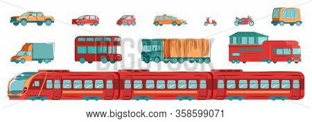 Urban Transport Set With Subway, Tram, Cars And Tracks In Flat Design Vector Illustration Isolated O