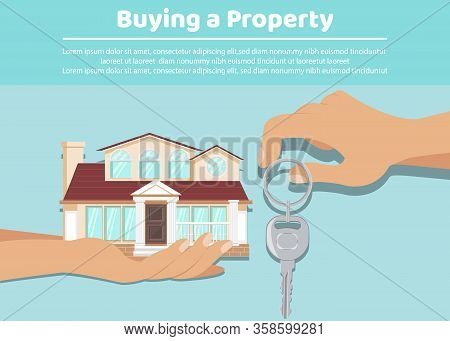 Landlord Giving Tenant Keys Web Banner Template. Property Buying, Apartment Renting, Mortgage Poster