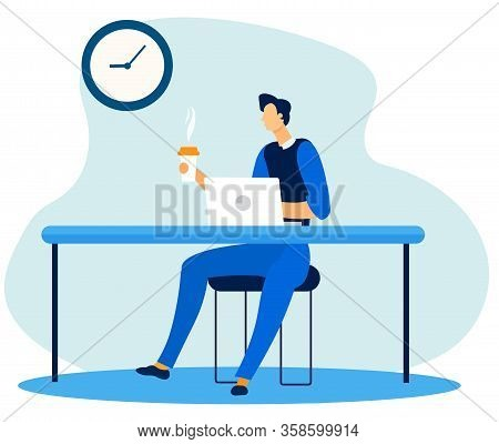 Cartoon Office Worker Character Having Coffee Break At Workplace. Executive Manager Sitting At Desk