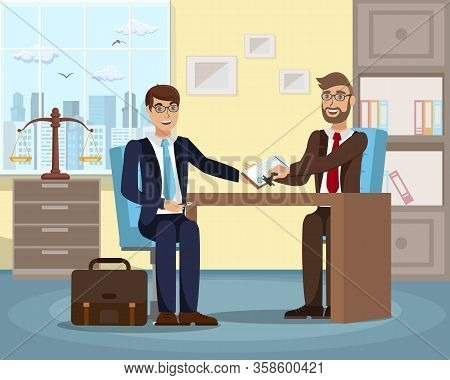 Successful Job Interview Flat Vector Illustration. Boss Cartoon Character Hiring Employee. Lawyer, L