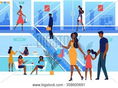Shopping Center Visit Flat Vector Illustration. Shoppers, Customers, Consumers Cartoon Characters. Y