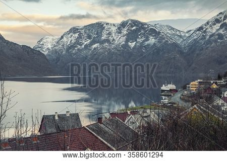 View of an Aurlandsfjord in Norway time-lapse