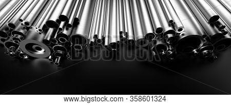 Stainless Steel Tubes On Black Background 3d Rendering