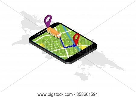 Delivery App Isometric Illustration. E-commerce. Track Service. Truck Shipping. Global Online Naviga