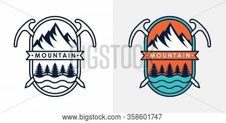 Mountains. Mountain logo vector. Mountain icon vector. Mountain icon. Mountains logo. Mountain logo template. Mountains logo design. Mountains emblem logo. Set Of Mountains logo vector illustration for Outdoor Adventure.