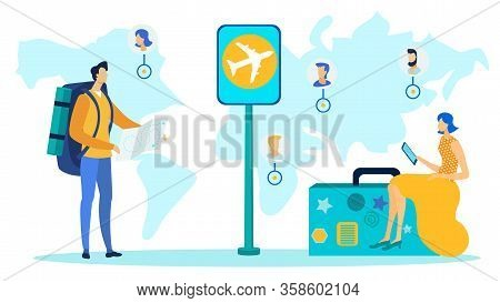 Worldwide Travel, Tourism Flat Vector Illustration. Young Tourists With Luggage Cartoon Characters.