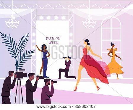 Young Models On Podium Flat Vector Illustration. Elegant Women In Beautiful Dresses Cartoon Characte