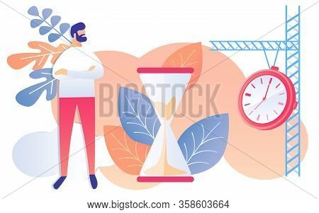 Cartoon Man With Hands Crossed Watch Hourglass. Clock Stopwatch On Crane. Deadline Timer Time Delay