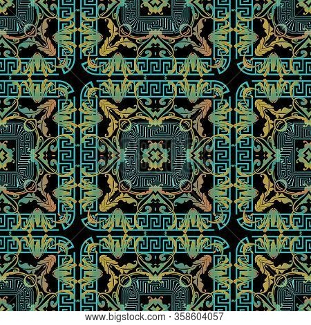 Baroque Seamless Pattern. Greek Style Geometric Tartan Background. Floral Repeat Vector Plaid Backdr