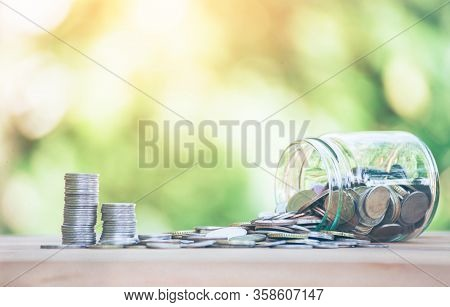 Coins Placed  Is On Table. Jar Fall Down Then There's The Coin Flowing Out Go Coins,