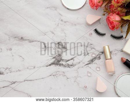 Female Fashion Beauty Blogger Workspace. Makeup Tools Cosmetics, False Eyelashes, Mirrors, Lipstick,