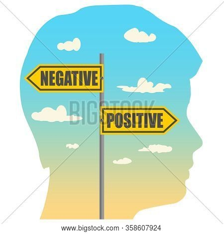 Double Exposure Portrait Of Young Man And Road Signs. Positive And Negative Text Pointing In Opposit