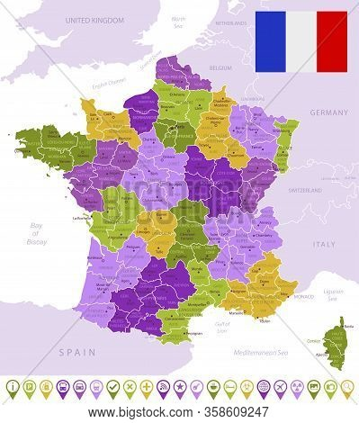 Detailed Map Of France With Flag, Border Of Regions And Country. Purple, Yellow, Green.