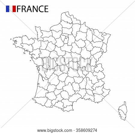 France Map, Black And White Detailed Outline Regions Of The Country.