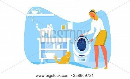 Automatization And Conveniences Cartoon Flat Vector Illustration. Bathroom Interior. Woman Choosing