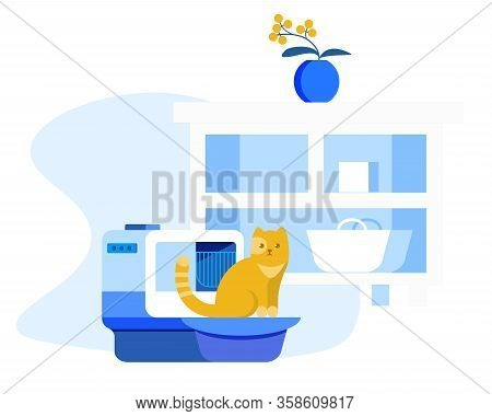 Electronic Conveniences For Pets Cartoon Flat Vector Illustration. Automatic Toilet For Cats. Interi